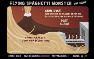 A depiction of the beer volcanoes and stripper factories in Pastafarian Heaven.