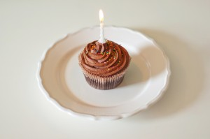 Chocolate Cupcake With 1 Candle