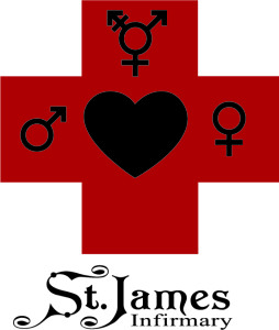 St James Infirmary Logo Red Cross on white background