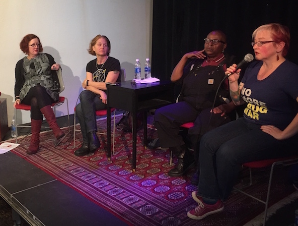 All four presenters at ACT UP workshop hosted by Godless Perverts on Jan 9, 2017. Left to right: Ingrid Nelson, Rebecca Hensler, Crystal Mason, and Laura Thomas.