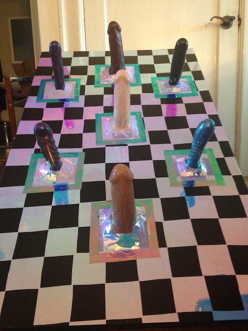 Ring toss game made with dildos