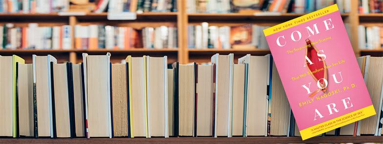 image of book shelf with Come As You Are in front